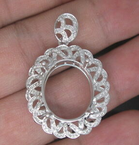 Oval-Cut-15-18mm-Solid-14Kt-585-White-Gold-Natural-Diamond-Semi-Mount-Pendant