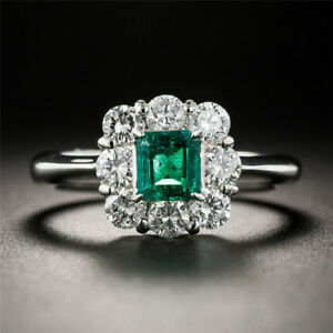 Exquisite-925-Silver-Green-Emerald-Edge-White-Sapphire-Princess-Engagement-Ring
