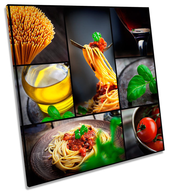 Pasta Italian Kitchen Food Drink SQUARE BOX FRAMED CANVAS ART Print