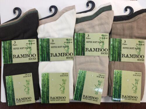 Conditionnement multiple de 3//6//9//12 paires hommes luxe bambou super doux anti bacterial chaussettes 6 11
