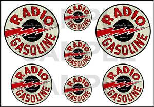 1 1/2 3/4 INCH RADIO GASOLINE MODEL GAS STATION BUILDING SIGN DECALS STICKERS