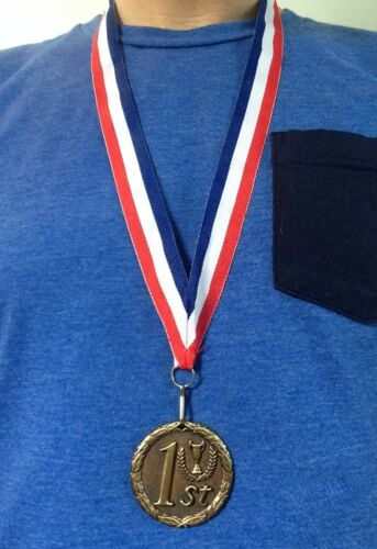 FREE NECK RIBBON AND ENGRAVING 2nd PLACE MEDAL SET OF 3