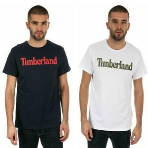Timberland-Logo-Seasonal-T-Shirt-Mens-Navy-Blue-White-Short-Sleeved-Slim-Fit-Tee