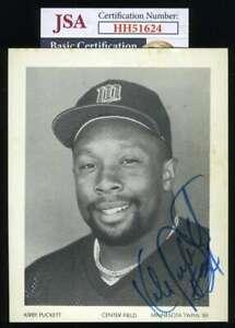 Kirby-Puckett-Jsa-Coa-Autograph-Hand-Signed-4x5-Twins-Team-Issued-Photo