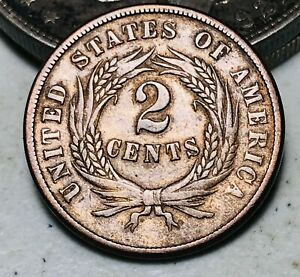 1865 Two Cent Piece 2C Ungraded Choice Civil War Era Good US Copper Coin CC6911