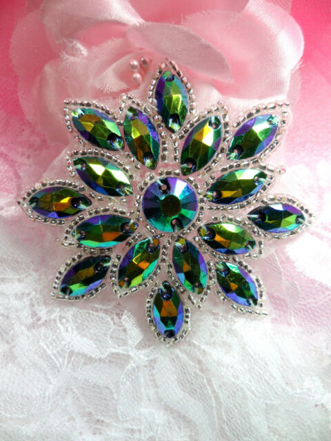 N19 Peacock Glass Rhinestone Applique Snowflake Floral Beaded Patch Sewing 2.75""
