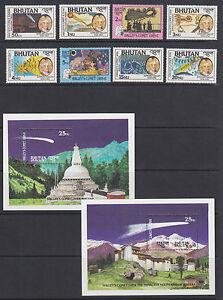 Bhutan-Sc-564-573-MNH-1986-Halley-039-s-Comet-cplt-set-stamps-amp-souv-sheets-VF