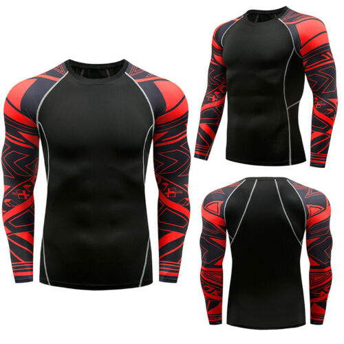 Mens Compression Top Base Layer Tights Long Sleeve Workout Training Gym T-Shirt