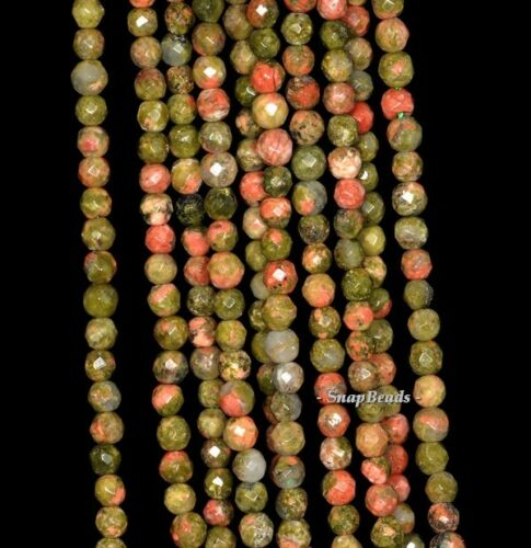 """2MM LOTUS POND UNAKITE GEMSTONE GREEN RED FACETED ROUND 2MM LOOSE BEADS 16/"""""""