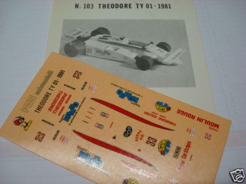 THEODORE F1 TY01 TAMBAY  ROMBO  DECAL 1 43 VERY RARE