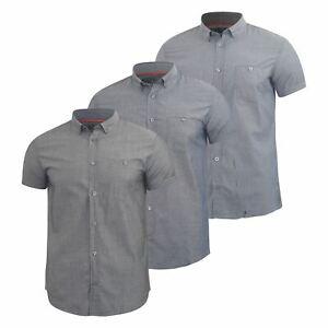 Mens-Plain-Shirt-Henthorn-Short-Sleeved-Cotton-Blend-Casual-Top