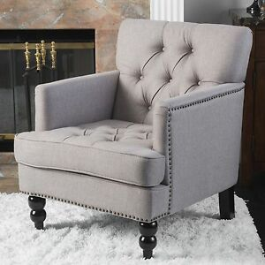 Image Is Loading Denise Austin Home Randi Pewter Fabric Tufted Club