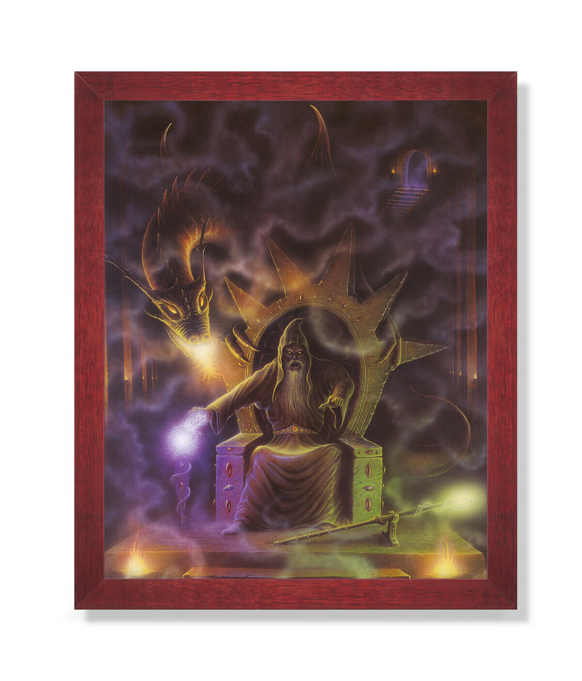 Dragon Fire Medieval Wizard   4 Wall Picture Cherry Framed Art Print