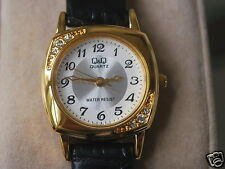 New Q&Q by Citizen Gold Tone Lady Dress Watch w/Diamond Bezel & Two Tone Dial
