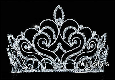 Vintage Style Pageant Beauty Contest Crown Tall Full Circle Round Tiara T1691