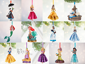 image is loading disney store christmas ornament belle aurora jasmine snow