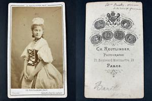Reutlinger, Paris, Blanche Barretta, actrice Vintage cdv albumen print.Blanche