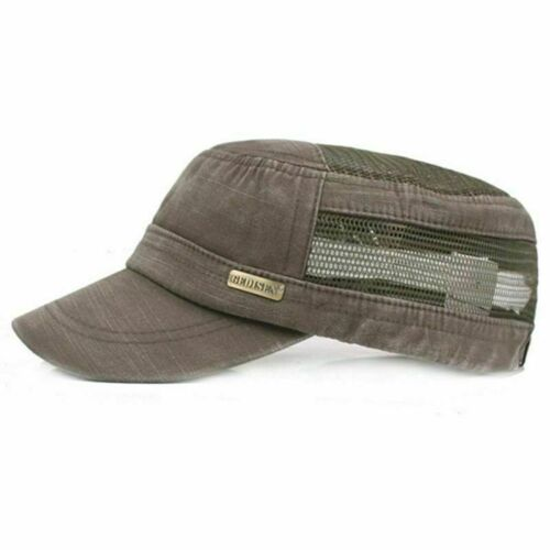 Style Men Mesh Flat Caps Summer Washed Cotton Hollow Breathable Military Hats