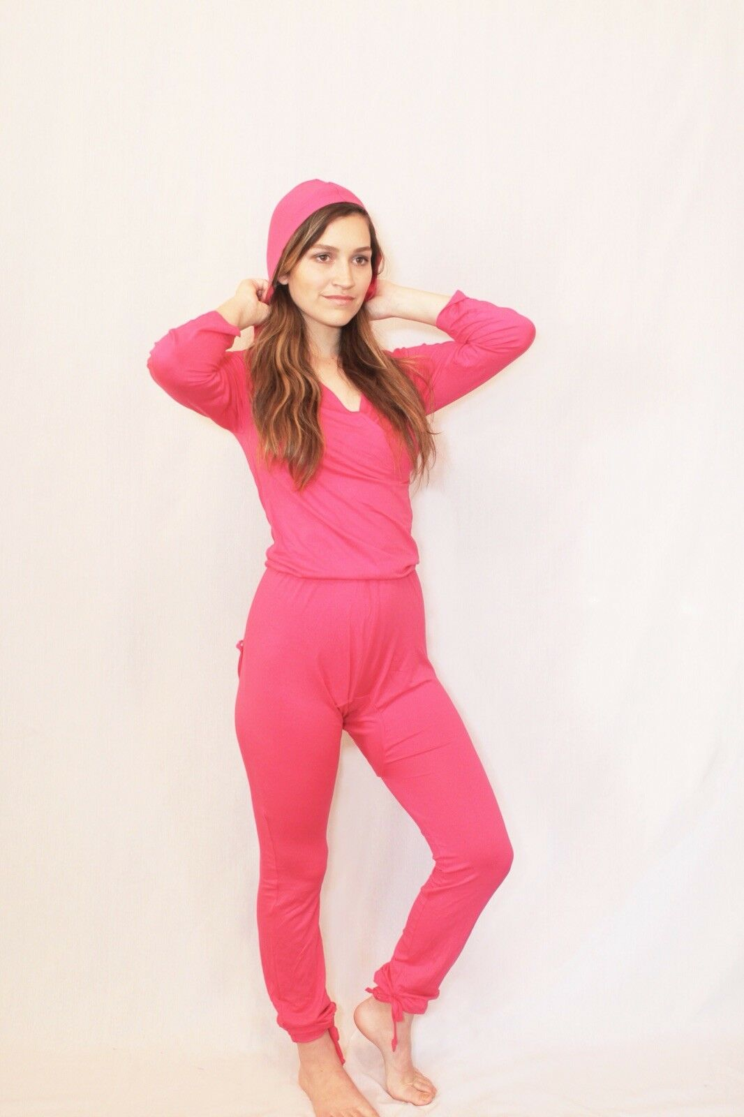 Women's pajamas One piece with butt flap- hot pink. xxs-3XL  small medium large