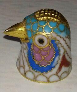 Dé à coudre en Emaux Cloisonné Forme Tête d'Oiseau / Vintage
