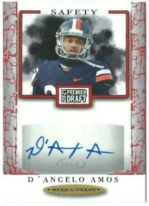 D'Angelo Amos/Lions 2021 Sage Hit Premier Draft Football Red Rookie Auto Card