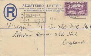 SIERRA LEONE:1939 GVI 3d brown REGISTERED Envelope size G H&G C5 -SEGBWEMA