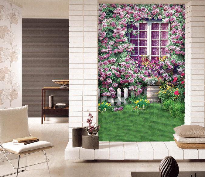 Papel Pintado Mural De Vellón Hermosa Ventana De Flores 2 Paisaje Fondo Pansize