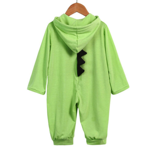 Toddler Infant Baby Boy Girl Kid Dinosaur Hooded Romper Jumpsuit Clothes Outfit