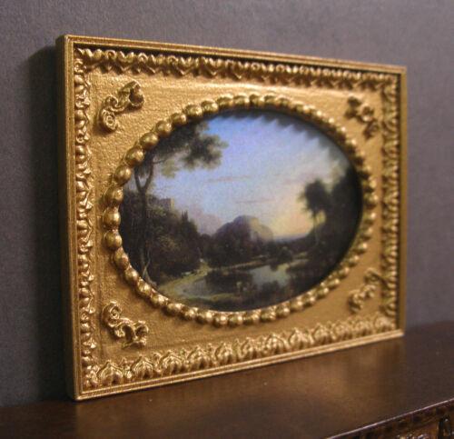 "OVAL  FRAMED  PICTURE /""  Landscape /""  Dollhouse ~ 1:12 ~ Jim Coates ~ Room Box"