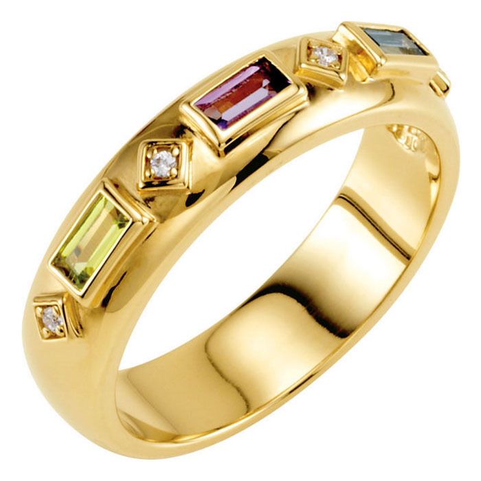 Baguette Birthstones 10K or 14K Solid gold Mother's Family Ring 2-5 Stones