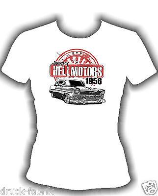 Hot Rod Girly Frauen T-Shirt Hellmotors Old School Chevy V8 US Car Damen Rock
