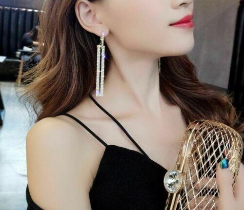 Elegant 3 Inch Long Rectangle Rhinestone Drop Earrings Leverback Silver Gold