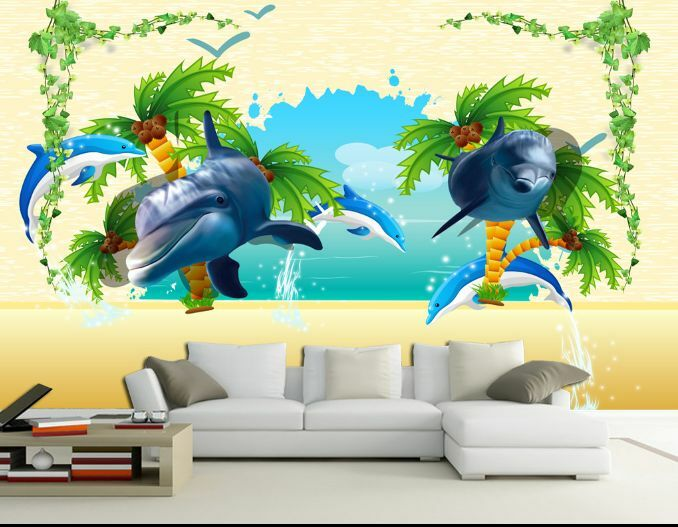 3D due delfini 34 Parete Murale Foto Carta da parati immagine sfondo muro stampa