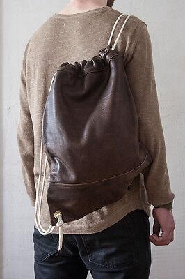 "Leder Turnbeutel ""Vintage"" Leder Sportbeutel Rucksack antikbraun Tasche #6"