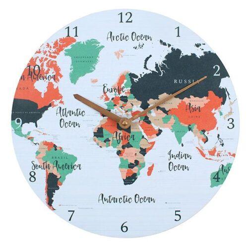 Traveler Weltkarte Atlas Kugel Bunt 12-stunden Wanduhr 34cm