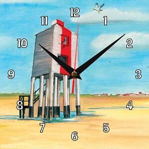 No-225-Burnham-on-Sea-Lighthouse-Sue-Podbery-handmade-Wall-clock-gift-present
