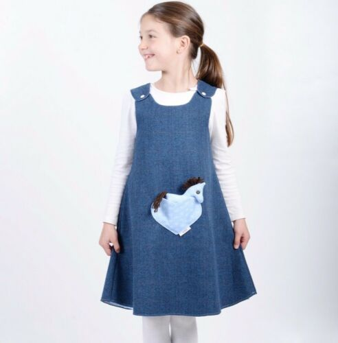 Handmade Reversible girls dress Blue Flowers on Blue Tweed Size:New Born-9 Years