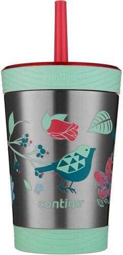 12 oz, Contigo 2030575 en acier inoxydable Spill-Proof Kids Gobelet avec paille