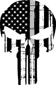 punisher skull american flag police silver corrections decal various