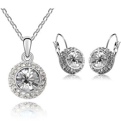 Bridal White Crystal Jewellery Set Circle Earrings & Necklace with Pendant S237