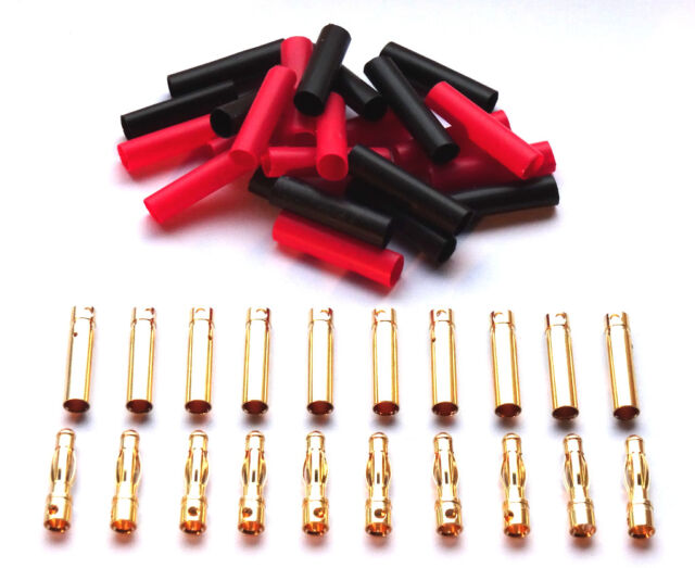 10 Paar 4mm 4 mm Goldkontaktstecker Stecker Buchse + Schrumpfschlauch Lipo ESC