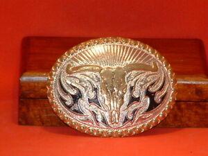 Pre-Owned-Crumrine-Silver-Bull-Skull-Belt-Buckle