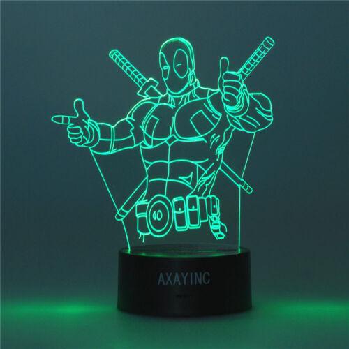 X-Men Deadpool 3D LED Night Light Touch Switch Table Desk Lamp Toy Xams Gift US