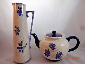 Maine-Blueberries-Teapot-amp-Tall-Pitcher-Vase-Cobalt-Blue-Ceramic-Pottery-Speckle