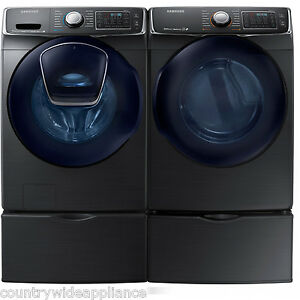 Samsung Black Stainless Washer Electric Dryer Pedestals