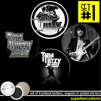 Thin Lizzy Set Of 4 Pinback Buttons Or Magnets Or Mirrors Pins Badges 1574