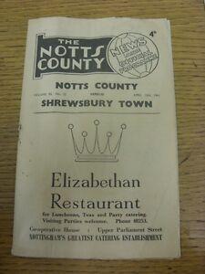 15-04-1961-Notts-County-v-Shrewsbury-Town-very-creased-rusty-staple-score-in