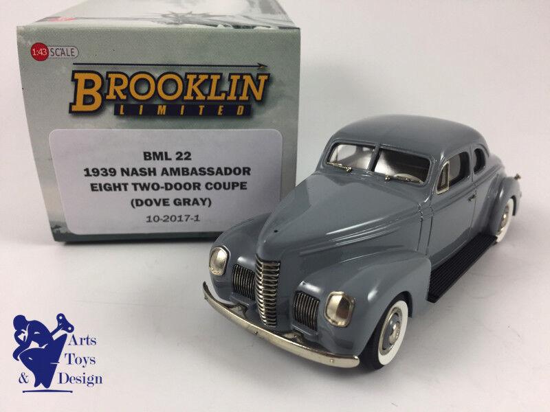 1/43 BROOKLIN BML 22 NASH AMBASSADOR EIGHT 2 DOOR COUPE 1939 DOVE Gris