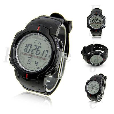 Fashion Waterproof Men's LCD Digital Stopwatch Date Rubber Sport Wrist Watch