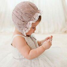 Summer Kids Girls Baby Lace Bow Sun Cap Flower Bonnet Hat 0- 8M